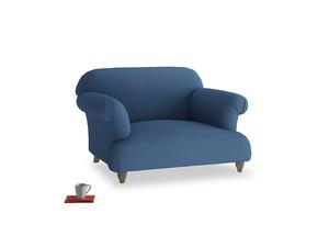Soufflé Love seat in True blue Clever Linen