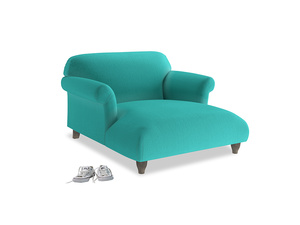 Soufflé Love Seat Chaise in Fiji Clever Velvet