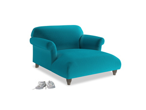 Soufflé Love Seat Chaise in Pacific Clever Velvet
