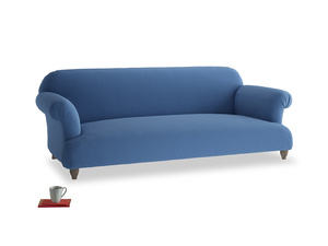 Large Soufflé Sofa in English blue Brushed Cotton