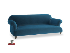 Large Soufflé Sofa in Twilight blue Clever Deep Velvet