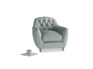 Butterbump Armchair in Sea fog Clever Woolly Fabric