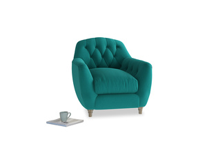 Butterbump Armchair in Indian green Brushed Cotton