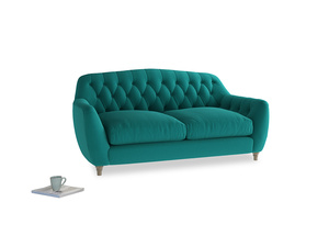 Medium Butterbump Sofa in Indian green Brushed Cotton