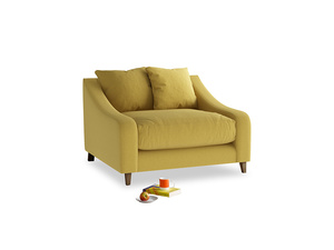Oscar Love seat in Maize yellow Brushed Cotton