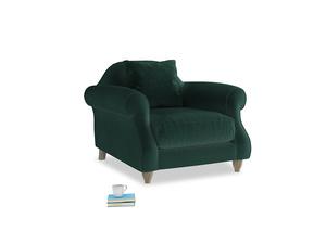 Sloucher Armchair in Dark green Clever Velvet
