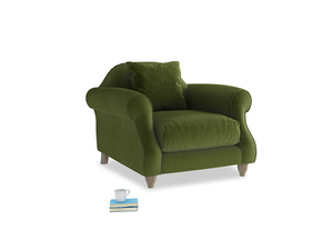 Sloucher Armchair in Good green Clever Deep Velvet