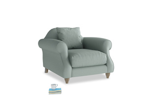 Sloucher Armchair in Sea fog Clever Woolly Fabric
