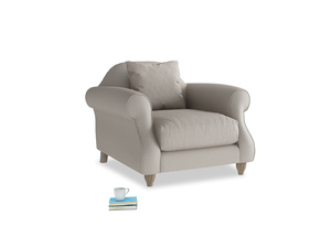 Sloucher Armchair in Sailcloth grey Clever Woolly Fabric