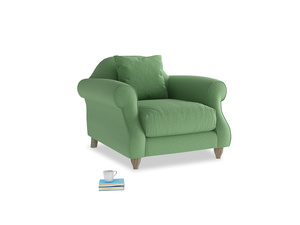 Sloucher Armchair in Clean green Brushed Cotton