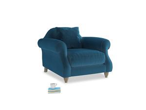 Sloucher Armchair in Twilight blue Clever Deep Velvet