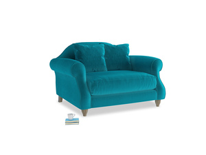 Sloucher Love seat in Pacific Clever Velvet