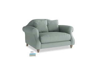 Sloucher Love seat in Sea fog Clever Woolly Fabric