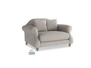 Sloucher Love seat in Sailcloth grey Clever Woolly Fabric