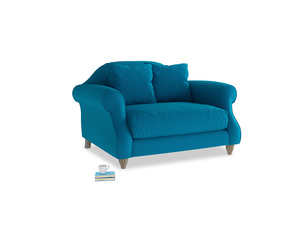 Sloucher Love seat in Bermuda Brushed Cotton