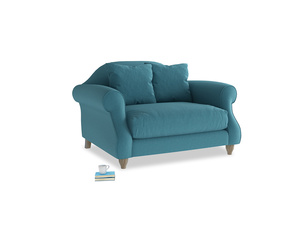 Sloucher Love seat in Lido Brushed Cotton