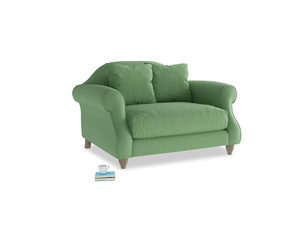 Sloucher Love seat in Clean green Brushed Cotton