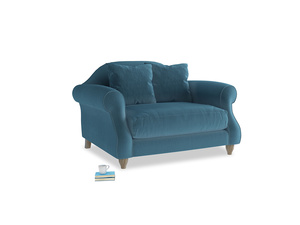 Sloucher Love seat in Old blue Clever Deep Velvet