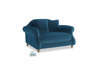 Sloucher Love seat in Twilight blue Clever Deep Velvet
