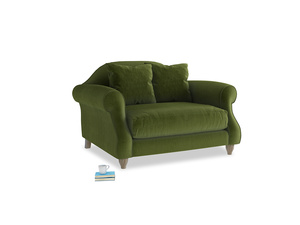 Sloucher Love seat in Good green Clever Deep Velvet