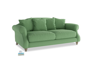 Medium Sloucher Sofa in Clean green Brushed Cotton