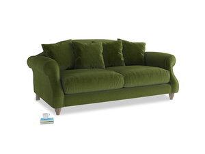 Medium Sloucher Sofa in Good green Clever Deep Velvet