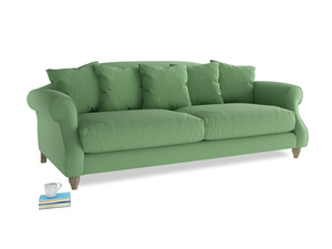 Large Sloucher Sofa in Clean green Brushed Cotton