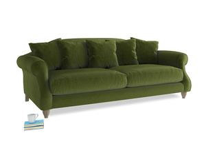 Large Sloucher Sofa in Good green Clever Deep Velvet
