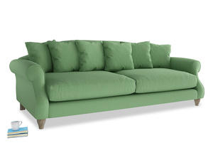 Extra large Sloucher Sofa in Clean green Brushed Cotton