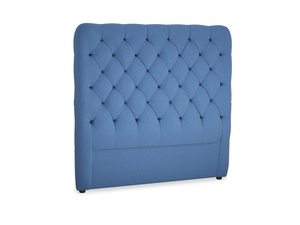 Double Tall Billow Headboard in English blue Brushed Cotton