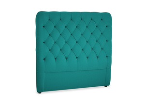 Double Tall Billow Headboard in Indian green Brushed Cotton