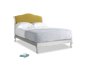 Double Coco Bed in Scuffed Grey in Maize yellow Brushed Cotton