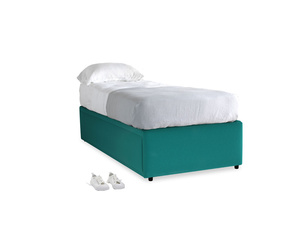 Single Friends Trundle Bed in Indian green Brushed Cotton