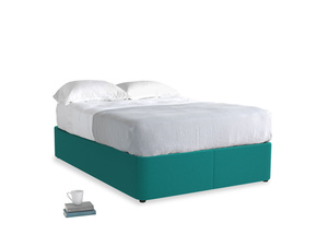 Double Store Storage Bed in Indian green Brushed Cotton