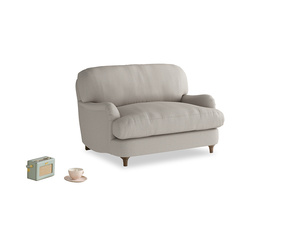 Jonesy Love seat in Sailcloth grey Clever Woolly Fabric