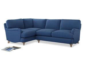 Large Left Hand Jonesy Corner Sofa in English blue Brushed Cotton