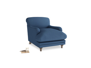 Pudding Armchair in True blue Clever Linen