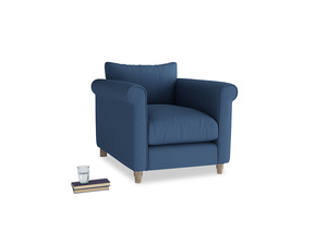 Weekender Armchair in True blue Clever Linen