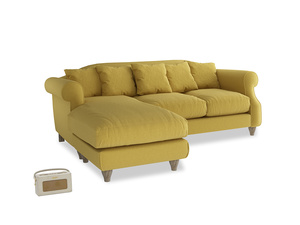 Large left hand Sloucher Chaise Sofa in Maize yellow Brushed Cotton