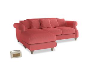 Large left hand Sloucher Chaise Sofa in Carnival Clever Deep Velvet