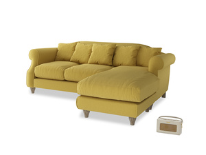 Large right hand Sloucher Chaise Sofa in Maize yellow Brushed Cotton