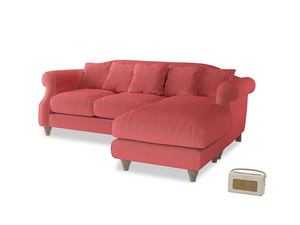 Large right hand Sloucher Chaise Sofa in Carnival Clever Deep Velvet