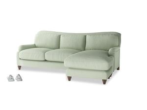 XL Left Hand  Pavlova Chaise Sofa in Powder green Clever Linen