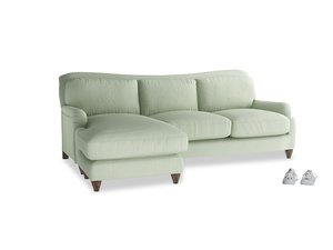 XL Right Hand  Pavlova Chaise Sofa in Powder green Clever Linen