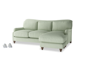 Large right hand Pavlova Chaise Sofa in Powder green Clever Linen