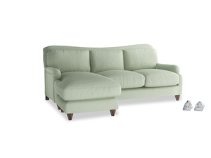 Large left hand Pavlova Chaise Sofa in Powder green Clever Linen