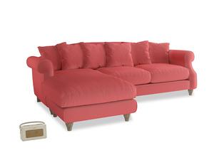 XL Left Hand  Sloucher Chaise Sofa in Carnival Clever Deep Velvet