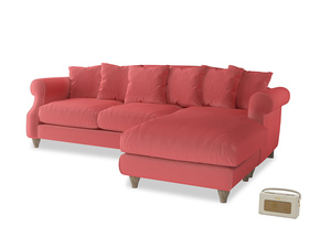 XL Right Hand  Sloucher Chaise Sofa in Carnival Clever Deep Velvet
