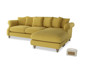 XL Right Hand  Sloucher Chaise Sofa in Maize yellow Brushed Cotton