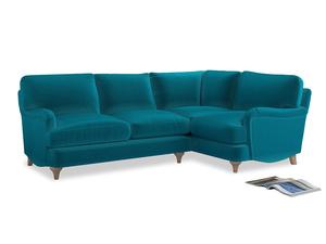 Large Right Hand Jonesy Corner Sofa in Pacific Clever Velvet